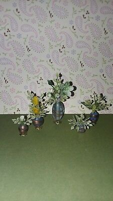 Lot Of 5 Dollhouse Miniatures Glas Vases w/ Plant & Flowers