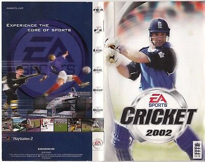 CRICKET 2002 - MANUAL & COVER & CASE ONLY replacement for Playstation 2 PS2 PAL