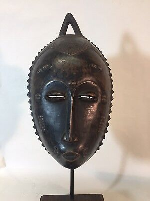 Fine Old Yaure/Baule Portrait Mask with Stand, Beautiful Patina