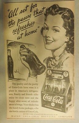 """Coca-Cola ad: """"The Pause That Refreshes"""" 1930's ~ 6.5 x 9 inches 1930's"""