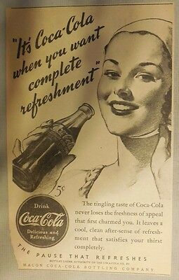 """Coca-Cola ad: """"When You Want Refreshment"""" 1930's ~ 6.5 x 9 inches from 1930's"""