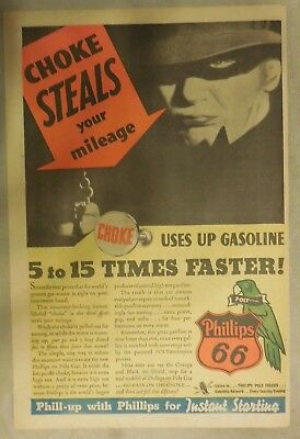 """Phillips 66 Gas Ad: """"Choke Steals Your Mileage"""" ! from 1937 Size: 11 x 15 inches"""