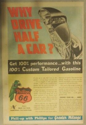 """Phillips 66 Gas Ad: """"Why Drive Half A Car?"""" ! from 1937 Size: 11 x 15 inches"""