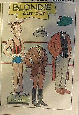 Blondie Sunday by Chic Young from 11/6/1938 Rare Paper Doll Full Page Size !