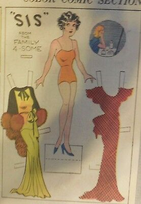 Blondie Sunday by Chic Young from 3/11/1934 Rare Paper Doll Full Page Size !