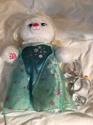"Build A Bear Disney Frozen Elsa 18"" Plush Gown Shoes Wig"