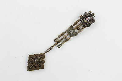 Antique CHATELAINE HOOK w/ Handpainted Portrait & Eqyptian Revival Notebook