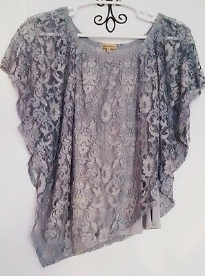 44a57f7b780 NEW Democracy Plus Size Lace Overlay Top Layered Light Blue Jersey Blouse 1X