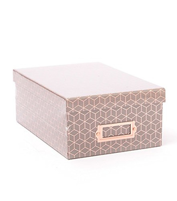 American Crafts Photo Boxes Gray Geo Rose Gold Foil Die Cuts with a View