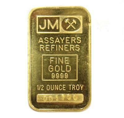 1/2 oz JM 9999 Johnson Matthey Gold Bar Very Early Bar Low Serial Number 1700
