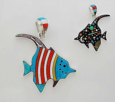 Sparkling Handcrafted Turquoise Multicolor Stone Inlay .925 Silver Fish Pendant