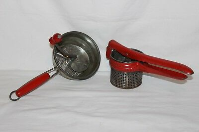 Vintage Metal Potato Ricer Masher Juicer w/Red Handle by Handy Things,Foley Food