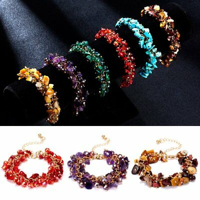 Charm Women Natural Crystal Stone Gravel Chip Bracelet Wristband Bangle Jewelry