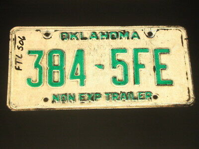 Old Oklahoma Trailer License Plate