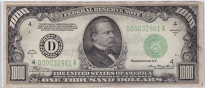 1934 A Green Seal One Thousand Dollars $1000 Federal Reserve Note