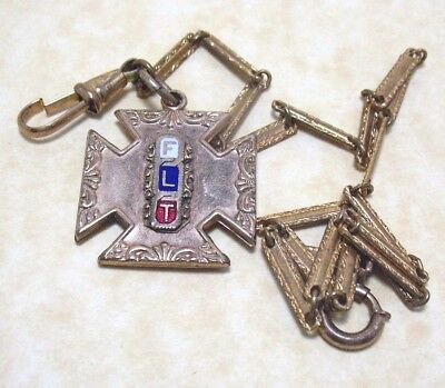 Masonic Odd Fellow Flt Fob On Watch Chain Gold Filled Enamel 10 Grams Antique
