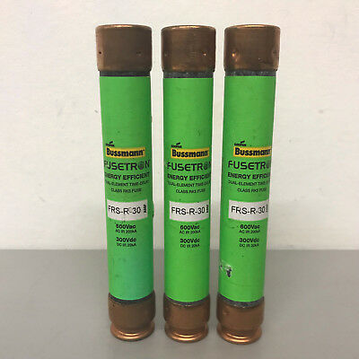 Lot of 3 New Bussmann Fusetron FRS-R-30 600V 30A Fuses