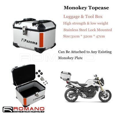 Silver Motorcycle Rear Out Back Storage Box Saddlebag Top Case Monokey Aluminum