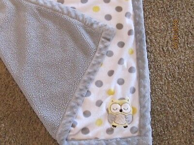 Carters Child of Mine Owl Baby Blanket White Yellow Grey Sherpa Polka Dots 30X40