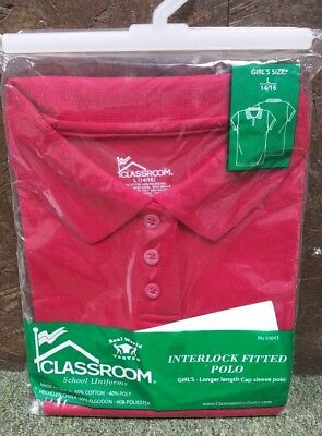 New, Classroom School Uniforms Polo, Girl's Size LG (14/16), Color-Red