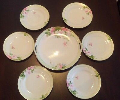 Antique Nippon Set 6 Plates And A Handled Dish Hand Painted Roses Green Gold Rim