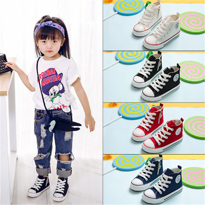 Girls Boys Toddler Casual Shoes Canvas Lace up Sports Shoes Non Slip High-top