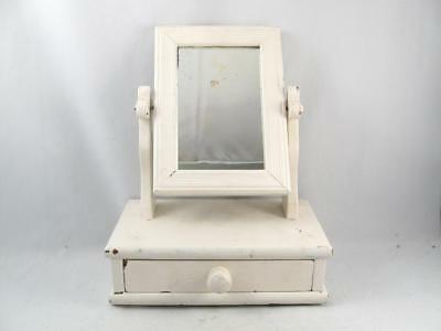 Antique Pine Wood Square Nail Top Shaving/jewelry Vanity Tilting Mirror & Drawer