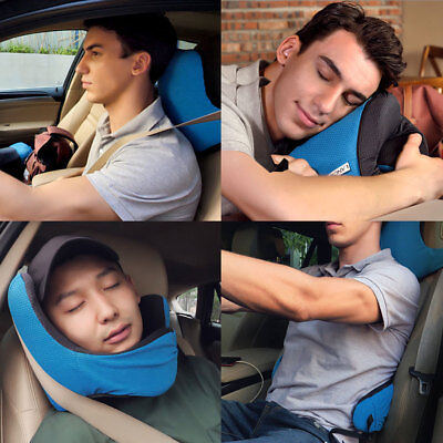 Travel Neck Pillow Memory Foam Cushion Support For Plane Car Bus Office W/ Hood
