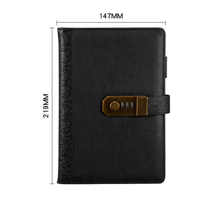 PU Leather Journal Blank Diary Note Book Password Code Lock Notebook Writing