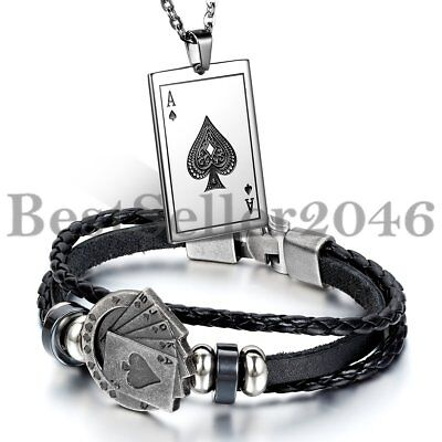 2pcs Men's Multilayer Leather Bracelet Cuff Bangle Necklace Pendant Poker Card