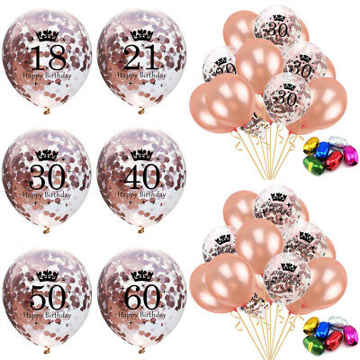 UK 15x Rose Gold 30 40 50th Confetti Balloons Happy Birthday Party Decorations