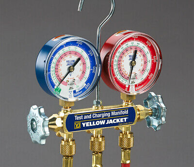 "Yellow Jacket 42201 Series 41 Manifold, with 3-1/8"" Gauges R-22/404A/410A"