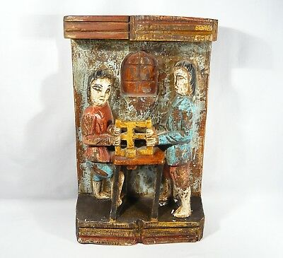 """Vintage FOLK ART Wood Carving TWO PEOPLE PLAQUE Polychrome Painted 15 1/4"""" SAW"""