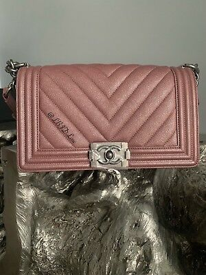 0c2c0384f925 NWT CHANEL PEARLY IRIDESCENT Dark Pink Chevron Caviar Boy Bag 2018 18A  Medium