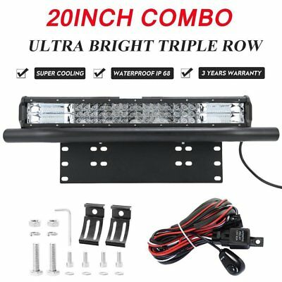 20inch Tri-row CREE LED Combo Light Bar + 23'' Number Plate Frame Mount Bracket