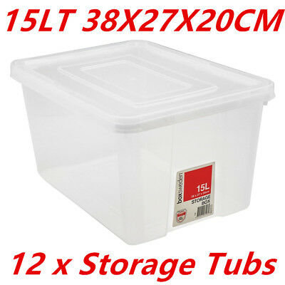 12PK Plastic Clear Storage Tubs 15L Crate Containers Tub with Lids BPA Free Food