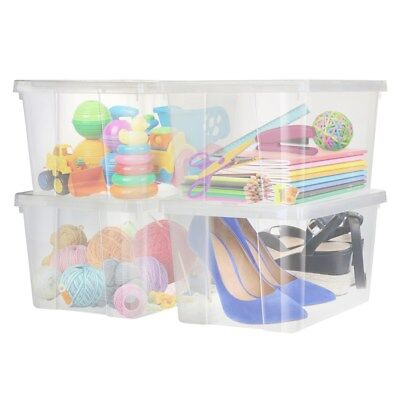4PK Plastic Clear Storage Boxes 15L Crate Containers Tub with Lids BPA Free Box