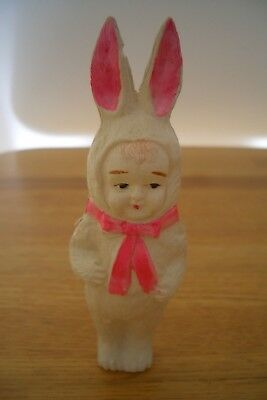 Antique Vintage Celluloid Rattle Child In Bunny Rabbit Suit Japan 4 1/2""