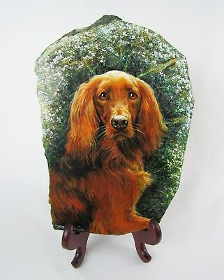 "Artist Signed Irish Setter Dog Original 14"" Painting on Marble Slab - Fabulous!"