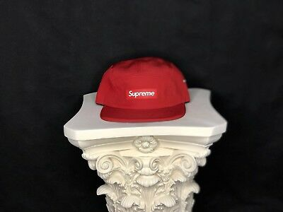 963174bc9d5 Supreme Rubber Logo Red SS13 Camp Cap 5 Panel Box Logo 100% Authentic