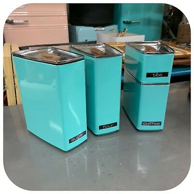 Vintage Mid Century Lincoln Beautyware 4 Piece Turquoise Canister Set