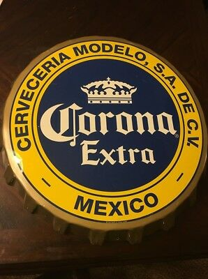 "Large Vintage-Rare Corona Extra Round Steel ""bottle Cap"" Beer Sign 19"" Diam."