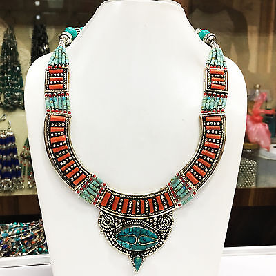 AUGN101 - Tribal Turquoise & Lapis Tibetan Silver Handmade Bold Necklace