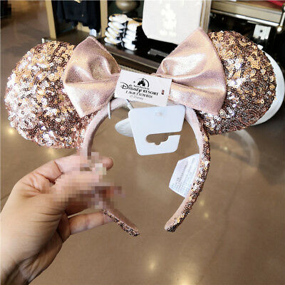NWT authentic Minnie Mouse Ear Headband rose gold sequin bowknot Disney park