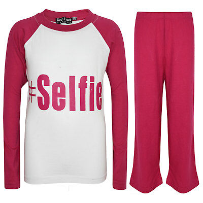 "Kids Girls Pink  PJ's "" #SELFIE "" Printed Stylish Pyjamas New Age 5-13 Years"
