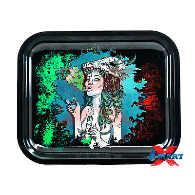 SMOKING SHAMAN GIRL Cigarette Tobacco Metal Rolling Tray LARGE 14x12
