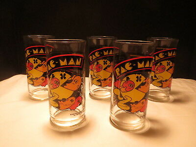 Vntg 1982 Pac-Man Glasses, Set of 5, Bally Midway Mfg Co.