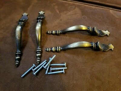 """(4) 6 1/4"""" Vintage Brass Colored Antique Drawer Door Pulls w/ 3"""" bore for holes"""