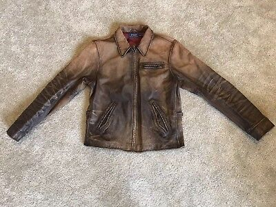 Ralph Lauren Polo Distressed Vintage Brown Leather Biker Moto Jacket XL