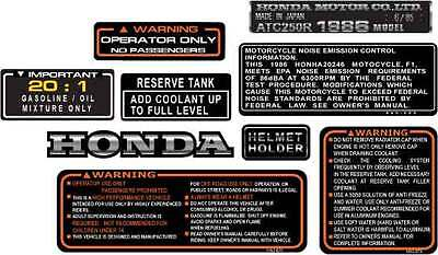 1986 86' honda ATC 250R vintage Frame stickers ATV decals logos 9pc graphics